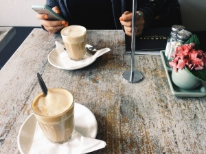 coffee, milk, glass, plate, pottery, table, cell phone