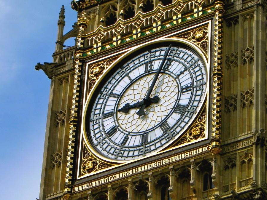 relógio, hora, minuto, hora, torre, metal