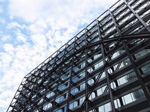 bygningen, konstruksjon, metall, glass, fasade, himmelen, arkitektur