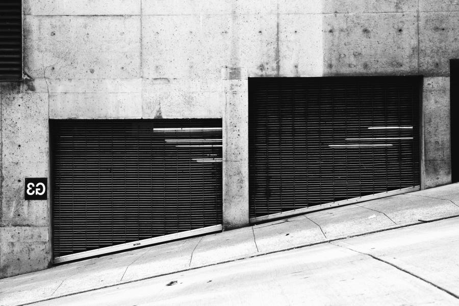 건물, 주차장도, 금속, 벽, 콘크리트