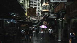 雨、傘、通り、ウェット、舗装、都市、建築、広告、人々