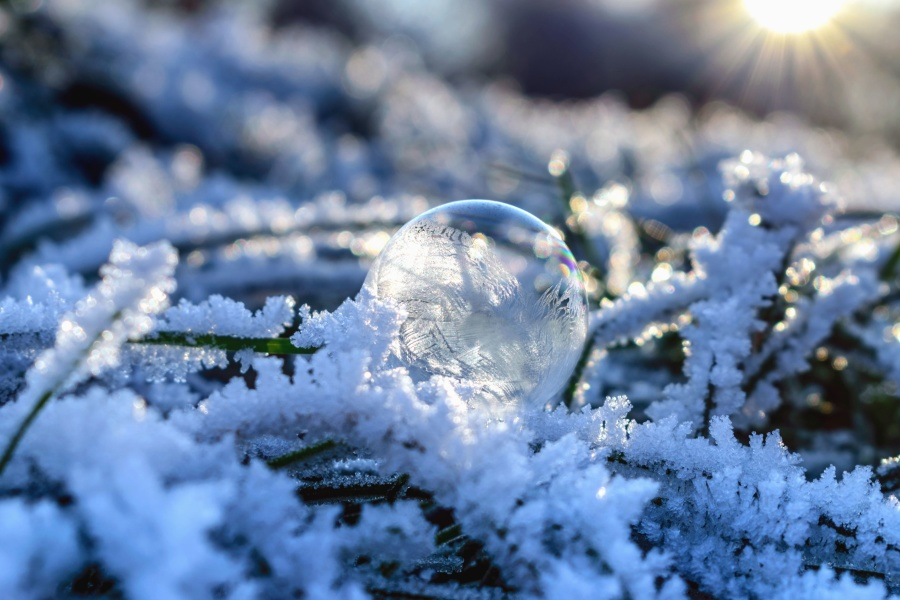 snow, sphere, sun, cold, ice, frozen, sun, reflection