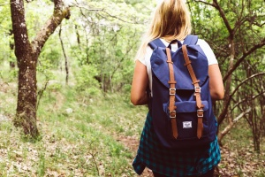 girl, forest, wood, nature, hiking, backpack, shirt