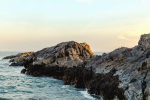 island, rocks, sea, water, wave, sky