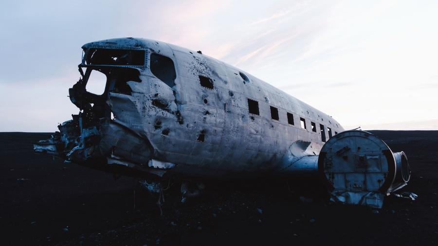 plane, wreck, metal, twilight, passenger aircraft, aluminum
