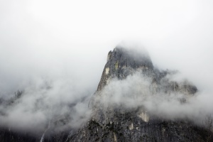 fog, mountains, rocks, nature