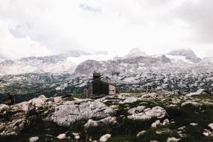 church, cross, construction, historical, mountain, snow, rocks, grass