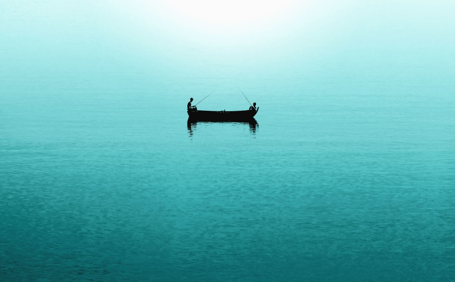 boat, lake, fishing rod, fishing, people, water