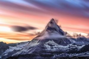 mountain, cloud, sky, sunset, snow, cold, frozen