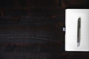 notes, pen, paper, table, black, white