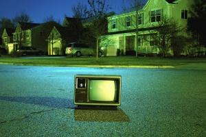 television, asphalt, retro, street, electronics, house, tree