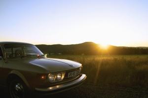 car, retro, mountain, Ssun, plant, metal