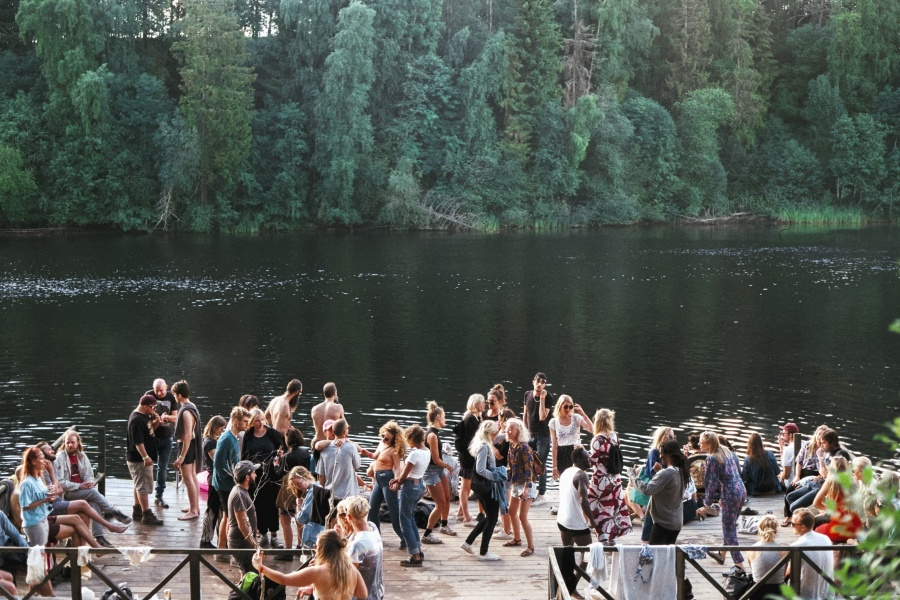 people, fun, party, music, young, crowd, river, forest, nature, water