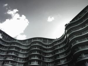 건물, 테라스, 건축, 유리, 하늘, 구름