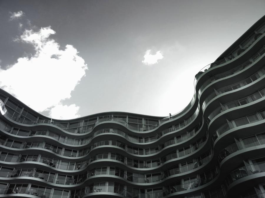 zgrade, terasa, arhitektura, staklo, nebo, oblak