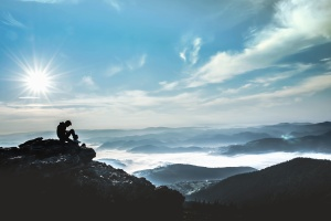 mountaineer, mountain, sky, sun, fog, rocks, landscape
