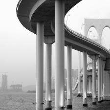 pillar, bridge, river, arch, construction, architecture, city