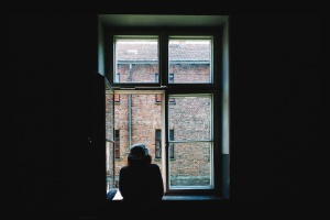 girl, silhouette, window, roof, brick, house, gutter