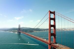 bridge, ship, river, city, sky, mountain