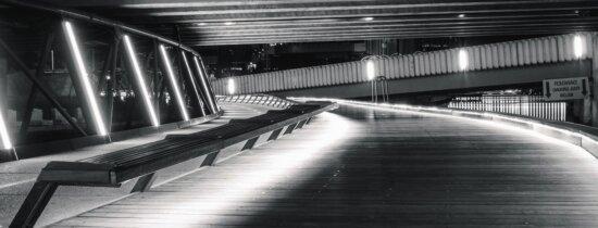 Banc, route, fluorescent, structures, réflexion, asphalte