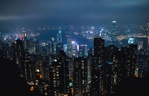 Ciudad, noche, luz, edificio, arquitectura, electricidad