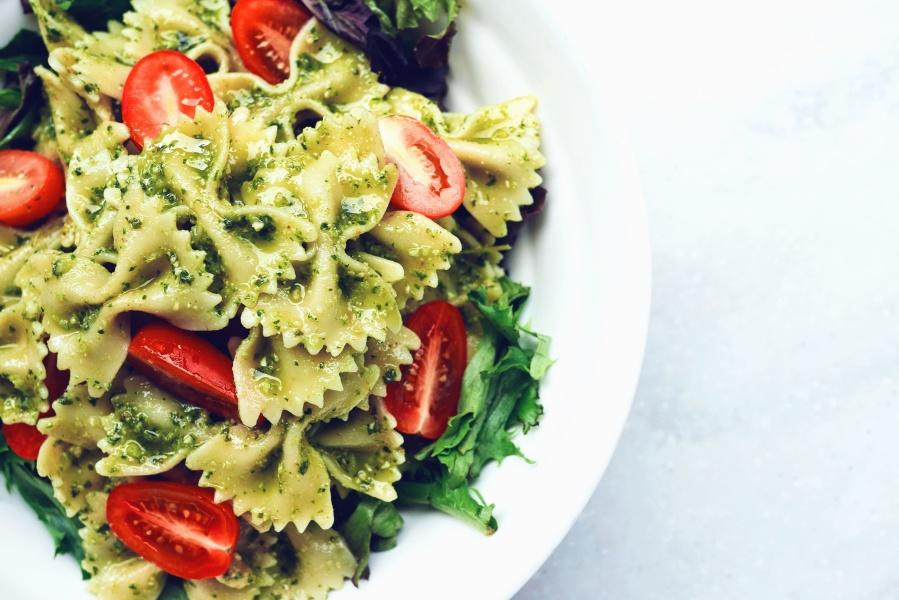 pasta, tomato, plate, salad, food, vegetable, spice