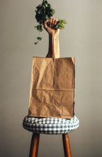 paper bag, chair, arm, vegetable, decoration, plant, food