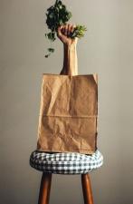 Torba papierowa, krzesło, ramię, warzyw, ozdoba, roślin, żywności
