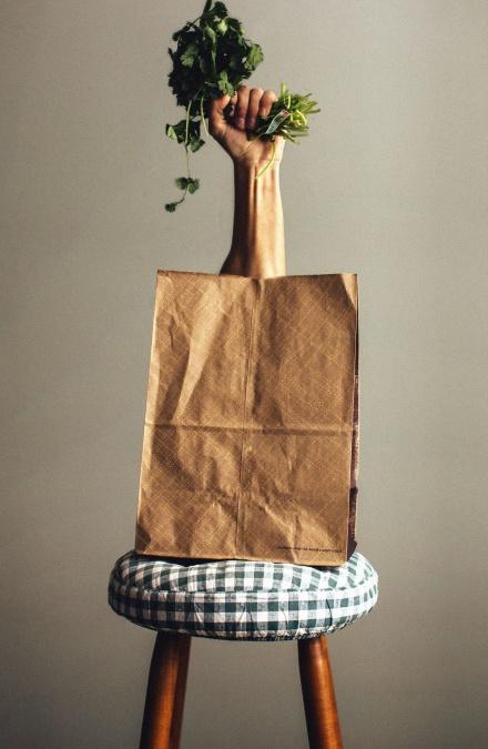 paper bag, chair, arm, vegetable, decoration, plant, food