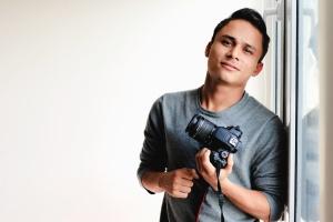 man, photographer, camera, lens, glass, reflection