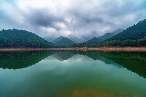 tó, víz, elmélkedés, hegy, erdő, felhő