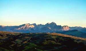 mountain, landscape, rocks, grass, tree, sunset