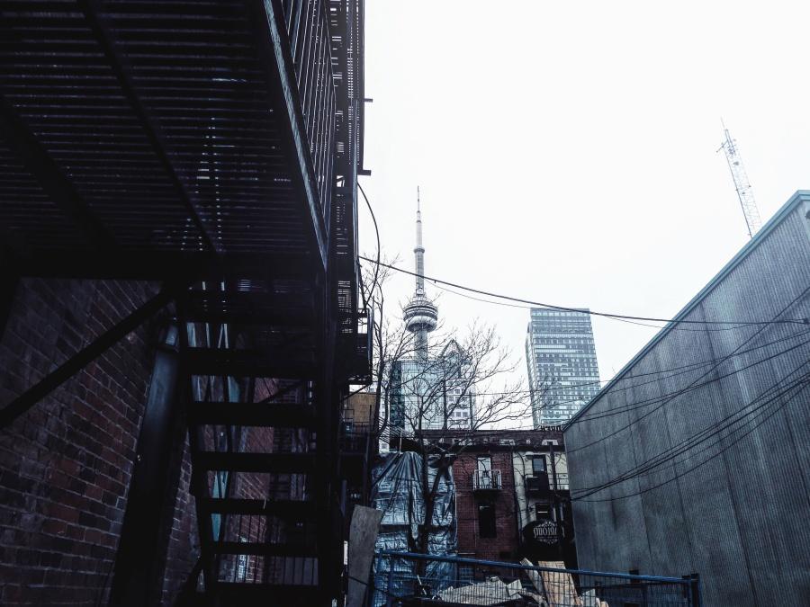Tour, escalier, métal, construction, bâtiment, câble, antenne