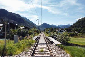railway, wire, rail, house, mountain, transport