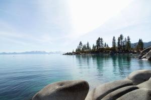 lake, tree, mountain, rocks, water, reflection, nature, sky