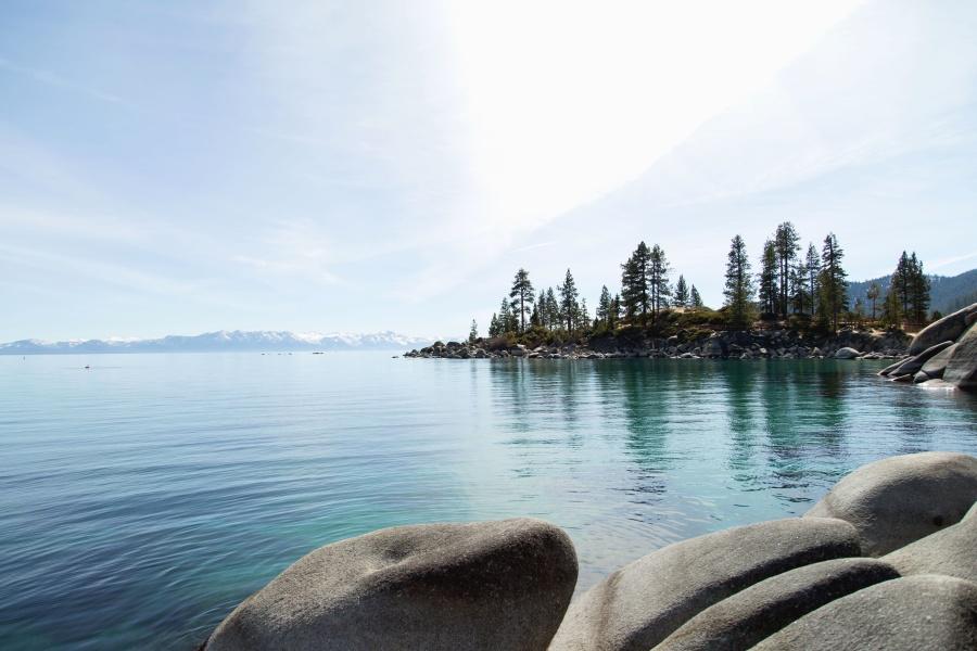 søen, træ, bjerg, sten, vand, refleksion, natur, himmel