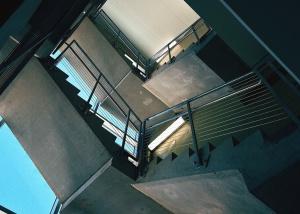 Barandilla, escaleras, metal, hormigón, edificio, arquitectura