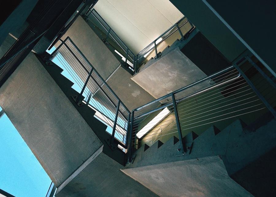 Geländer, Treppen, Metall, Beton, Gebäude, Architektur