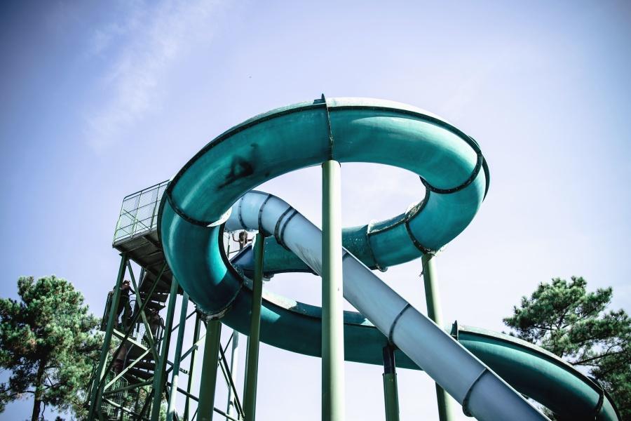zábavní park, plast, voda, zábava, konstrukce, kovové