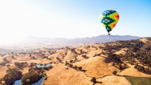 balloon, air, hot, fly, valley, landscape, colorful, basket