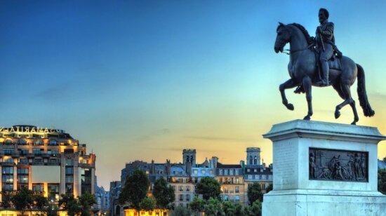 monument, statue, sculpture, art, horse, rider, building, sky, architecture