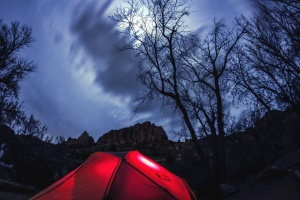 tent, light, nature, forest, moon, mountain, rocks