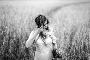 girl, hair, field, meadow