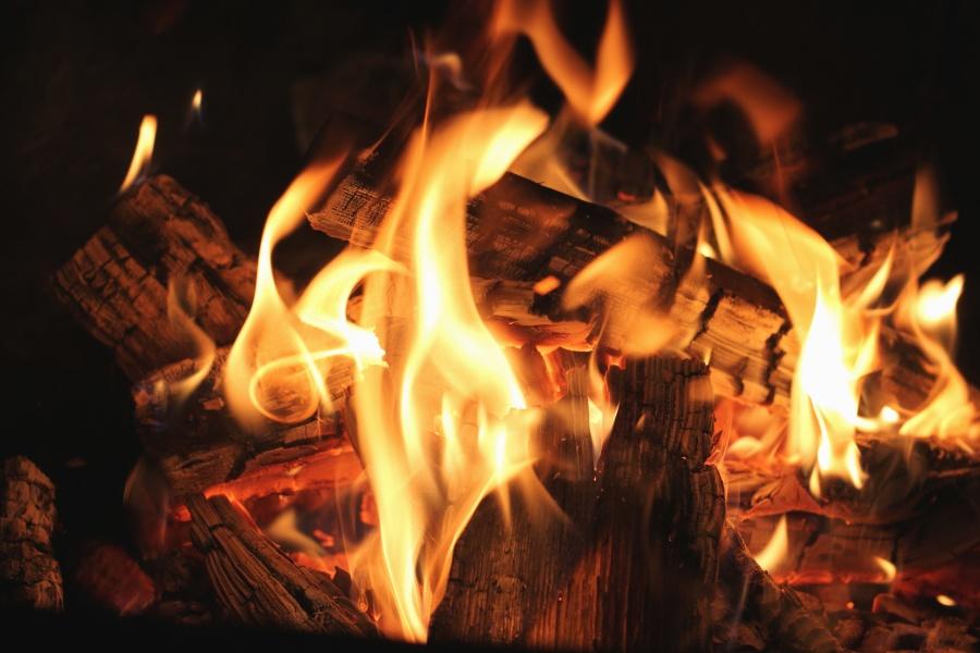 Fuego, calor, parrilla, humo, madera, calefacción