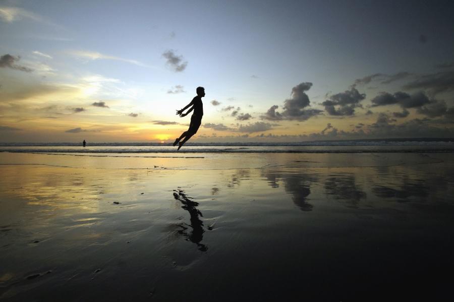 reflection, water, sea, man, sunset, cloud