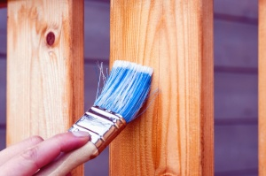 brush, wood, paintbrush, paint, hand, fence