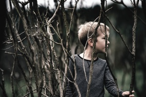 boy, branch, young, shirt, hair, nature