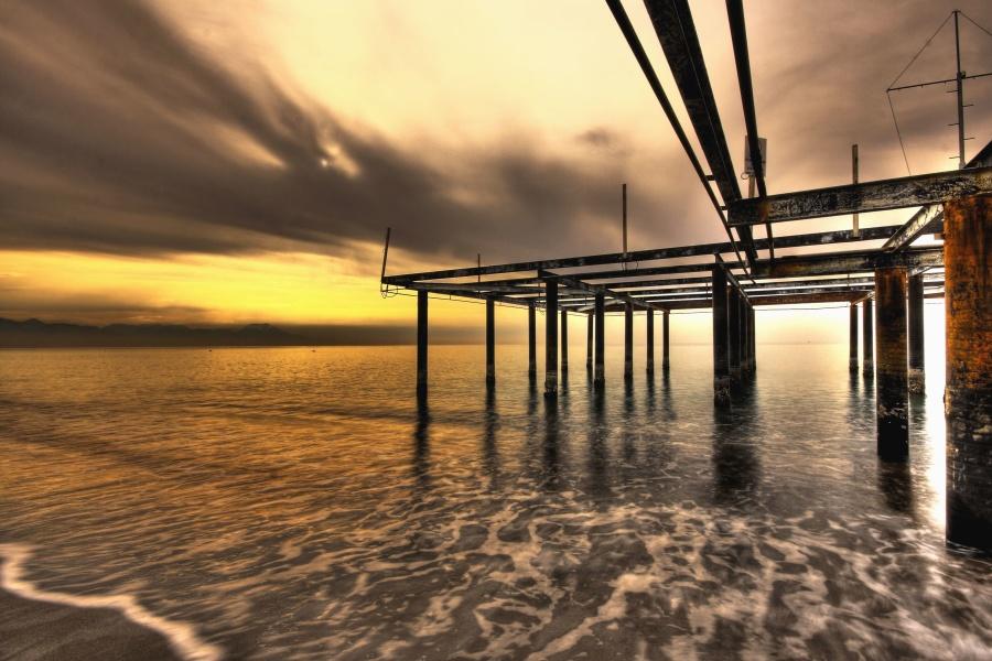 ayağı, rıhtım, su, deniz, kum, sahil, günbatımı