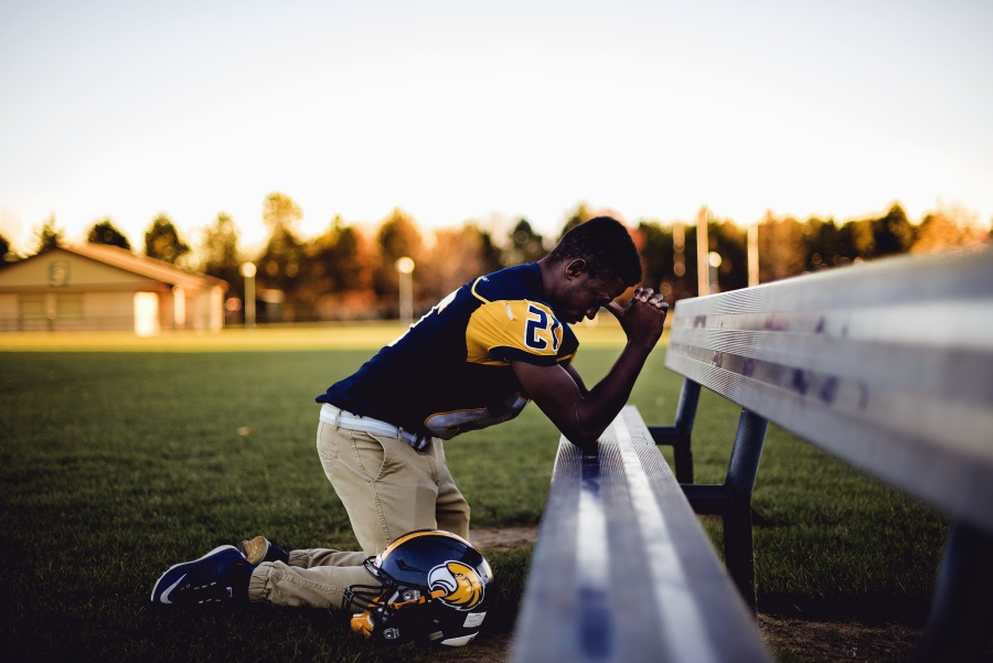 rugby, sport, man, helmet, uniform, bench, prayer, grass, game
