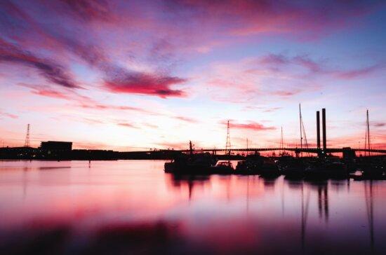 sea, dock, boat, water, reflection, sunset